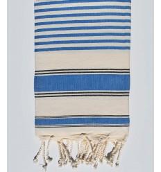 Serviette de plage ziwane blanc crème, noir et bleu