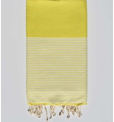 Serviette de plage nid d'abeille jaune chrome