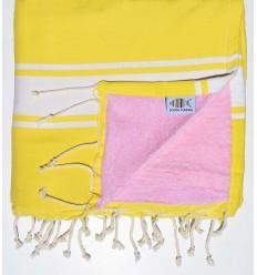 Fouta Plate doublée éponge jaune et rose clair