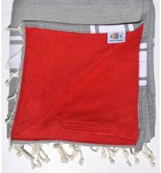 Fouta doublée éponge gris et rouge