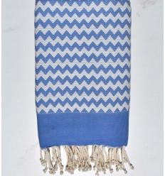 Fouta zigzag bleu