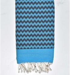 Fouta zigzag bleu azur et bleu nuit
