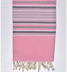 Serviette de plage arabesque rose clair et gris