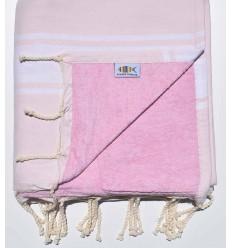 Serviette de plage doublée éponge rose très clair