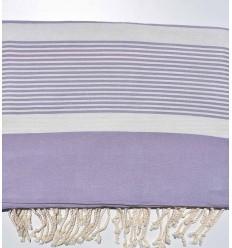 Jeté violet lavande rayée blanc