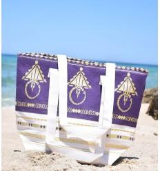 Sac de plage khlela blanc crème et violet