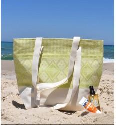 Sac de plage khlela blanc crème et vert clair