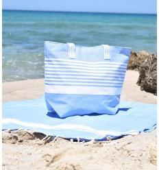Sac de plage arthur bleu et blanc