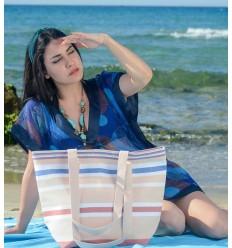 Sac de plage chair, blanc, rouge carmin et bleu