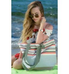 sac de plage 5 couleurs gris,rouge,blanc crémé,vert forêt et café