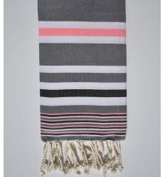 Serviette de plage dina gris avec rayures blanche, rose fluo et noir