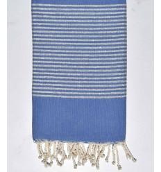 Fouta Lurex plate bleu barbeau