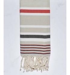 Serviette de plage dina vert pale, rouge, blanc et gris noir