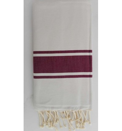 Fouta Plate blanche rayée aubergine