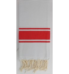 Fouta Plate gris clair rayée rouge