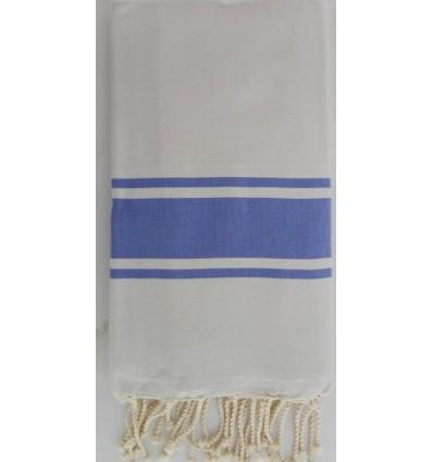 Fouta Plate gris clair rayée bleu lavande