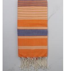 Fouta dina orange rayée gris et blanc