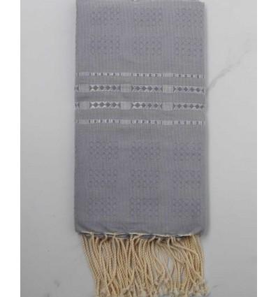 Fouta thalasso bleu horizon avec motifs gris