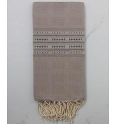 Fouta thalasso taupe avec des motifs