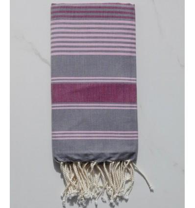 Fouta dina gris plomb rayée rose et bordeaux