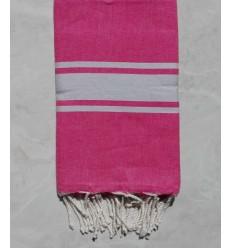 Fouta Plate rose bande gris clair