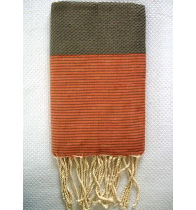 Fouta vert militaire rayée orange