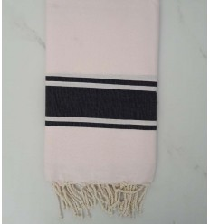 Fouta plate rose clair rayée gris anthracite
