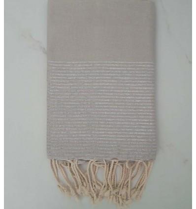 Fouta Lurex plate gris perle