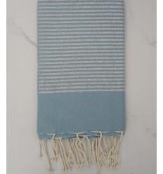 Fouta Lurex plate bleu clair