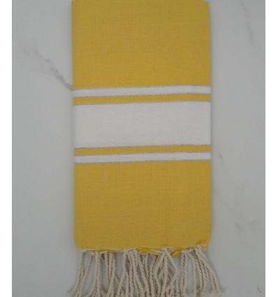 Fouta lurex jaune bande blanche