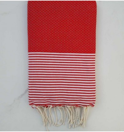 Fouta nid d'abeille rouge coquelicot
