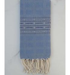 Fouta thalasso bleu avec motifs bleu foncé