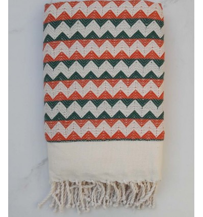Fouta zigzag blanc crème, orange et vert
