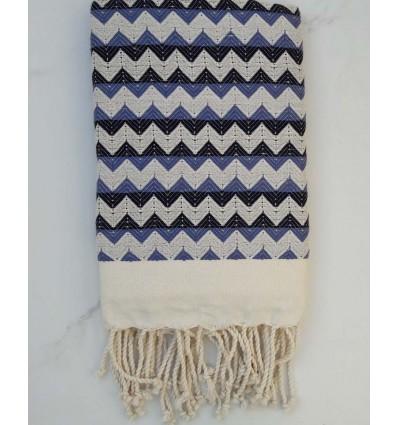 Fouta zigzag blanc crème, bleu turquin et noir