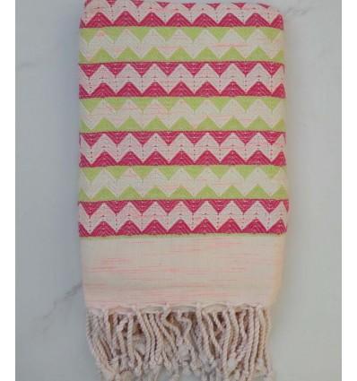 Fouta zigzag blanc crème, rose et vert