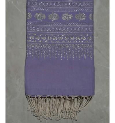 Fouta khomsa violet lavande 1.35m*2.3m