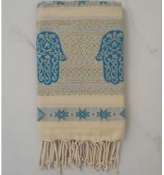 khomsa bleu azur au fil lurex doré