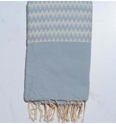 Fouta zigzag bleu pale