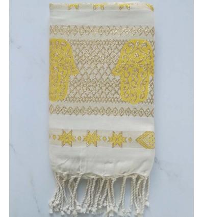 khomsa jaune au fil lurex doré