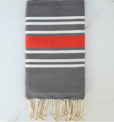 Fouta nid d'abeille gris et orange
