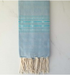 Fouta thalasso bleu bleuet avec motifs bleu clair