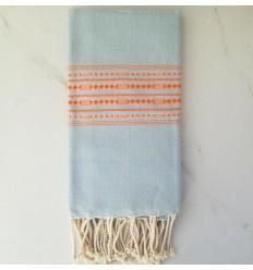 Fouta thalasso bleu clair avec motifs orange