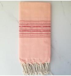 Fouta thalasso rose avec motifs rouge