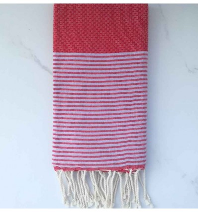 Fouta nid d'abeille rouge avec rayures