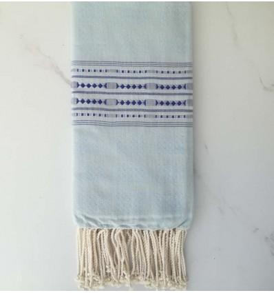 Fouta thalasso bleu ciel avec motifs bleu foncé