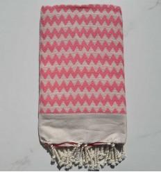 Fouta zigzag rose et blanc crème