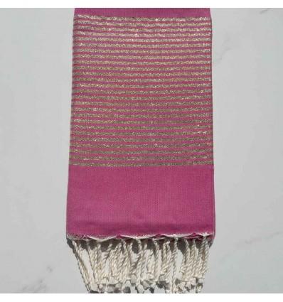 Fouta Lurex plate rose foncé