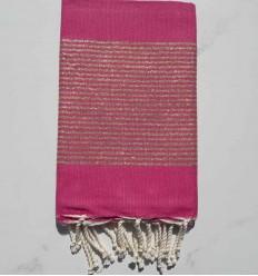 Fouta Lurex plate rose bonbon
