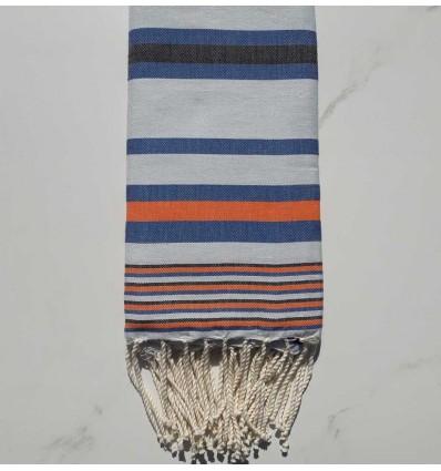 Fouta Dina bleu clair rayée anthracite, bleu et orange