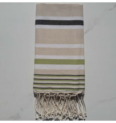 Fouta Dina écru rayée blanc, anthracite et vert